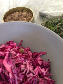 Fennelseed caper red-coleslaw