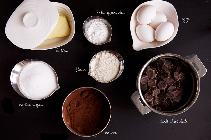 ingredients for chocolate brownies