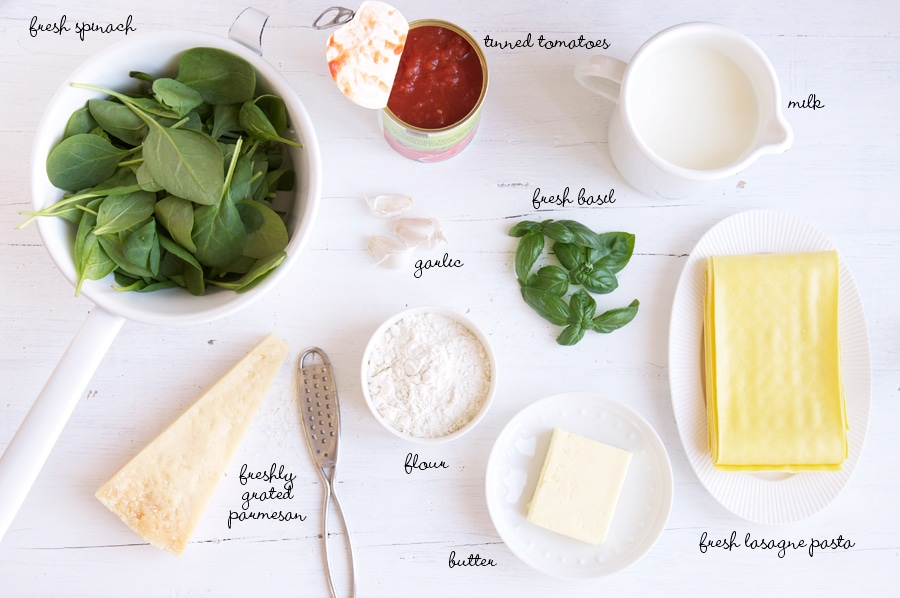 ingredients for spinach lasagna