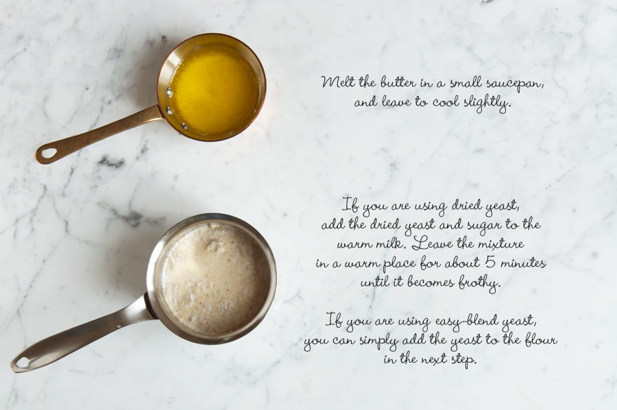 Step by step photos for making fruit loaf. Small saucepans of butter and active yeast.