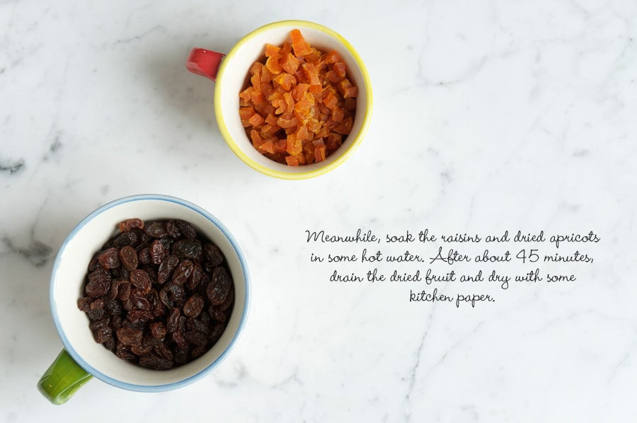 Step by step photos for making fruit loaf. Cups of dried apricots and raisins.