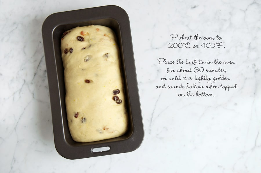 Step by step photos for making fruit loaf. Bread dough in baking tin after proving.