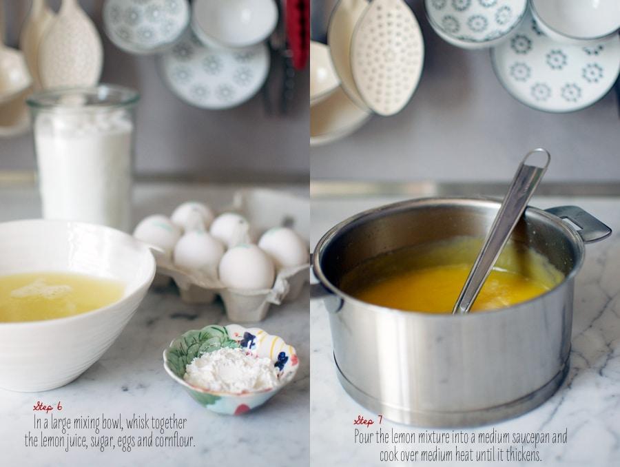 Step-by-step photos for making lemon curd tarts
