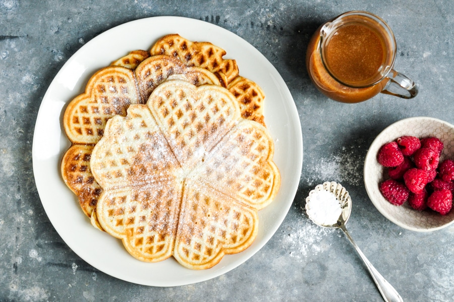 Waffles with Salted Caramel Sauce on plate