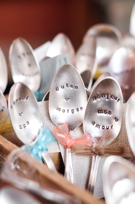 {Hand-stamped vintage spoons from The Loving Spoon}