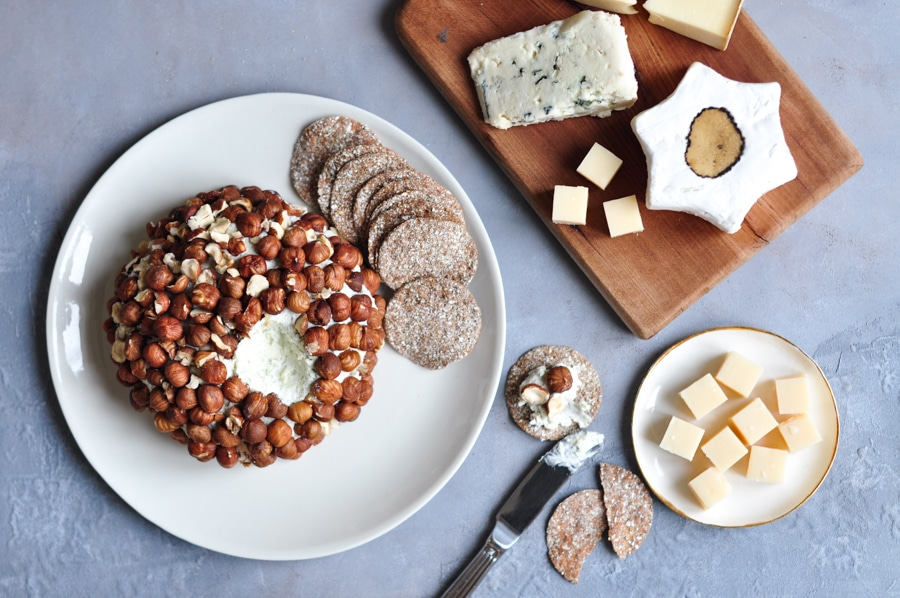 roquefort cheese ball on grey board