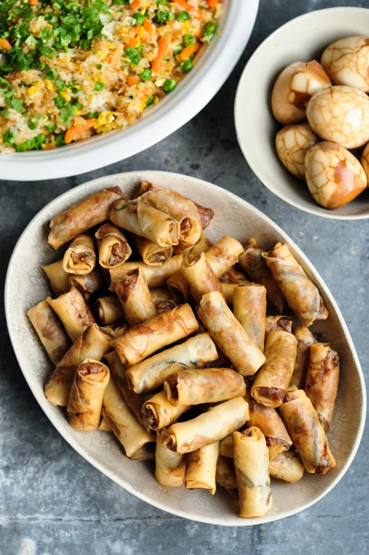 spring rolls or fried egg rolls in large plate