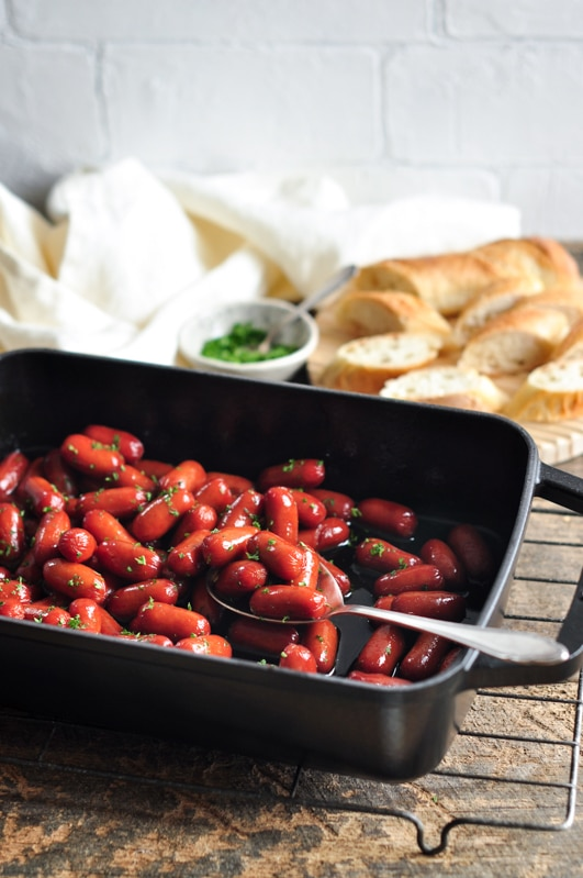 honey soy sriracha cocktail sausages with bread