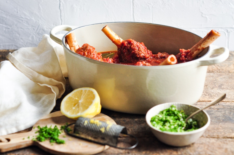 slow cooked lamb shanks red wine with fresh lemon and parsley