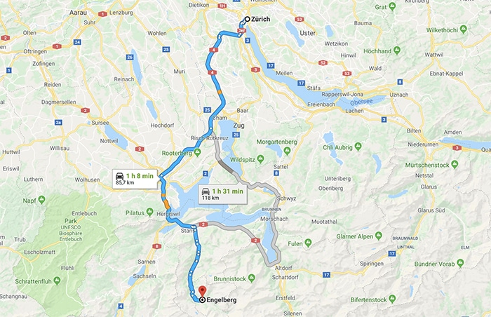 map of route from zurich to engelberg