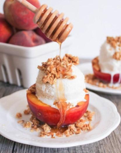 Grilled Peach Crisp Sundaes