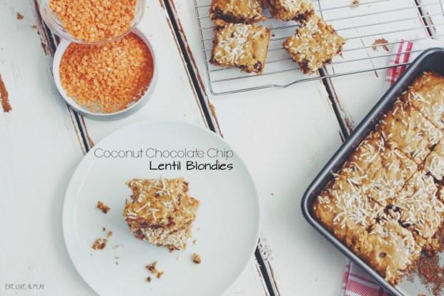 Coconut Chocolate Chip Lentil Blondies