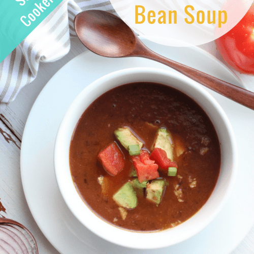Black beans steal the show in this easy slow cooker recipe - Chipotle Black Bean Soup! It literally just takes 10 minutes max to throw it together.