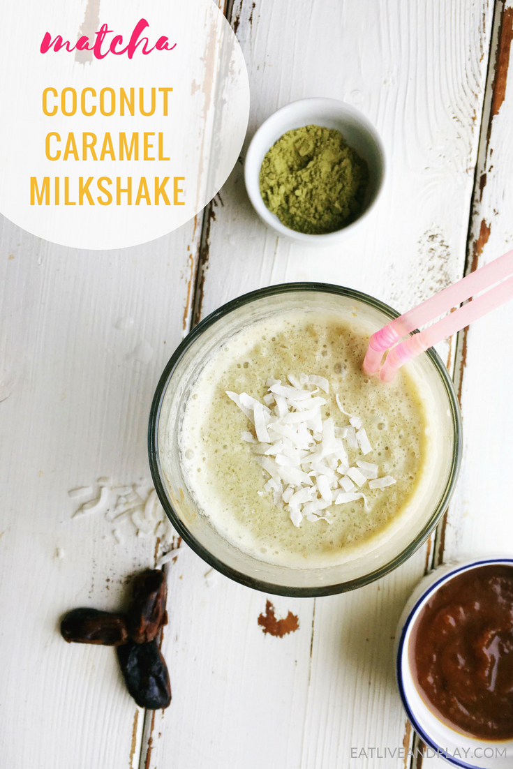 Matcha never tasted better in this delicious dairy free salted caramel milkshake made with coconut milk and antioxidant rich matcha. All the indulgence without the guilt!
