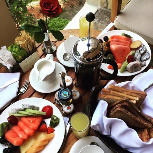 Balcony breakfast at Sofitel