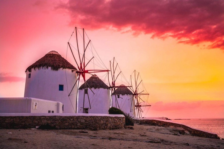 windmills sunset