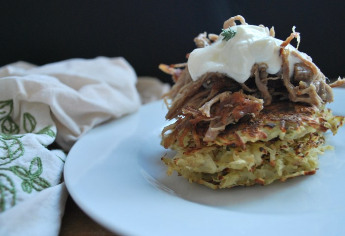 easy-potato-latkes-with-greek-yoghurt-and-pulled-pork
