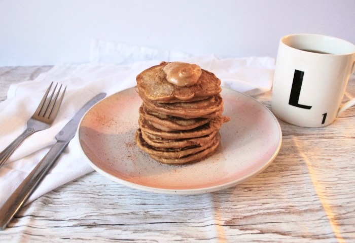 sweet potato pancakes with coffee