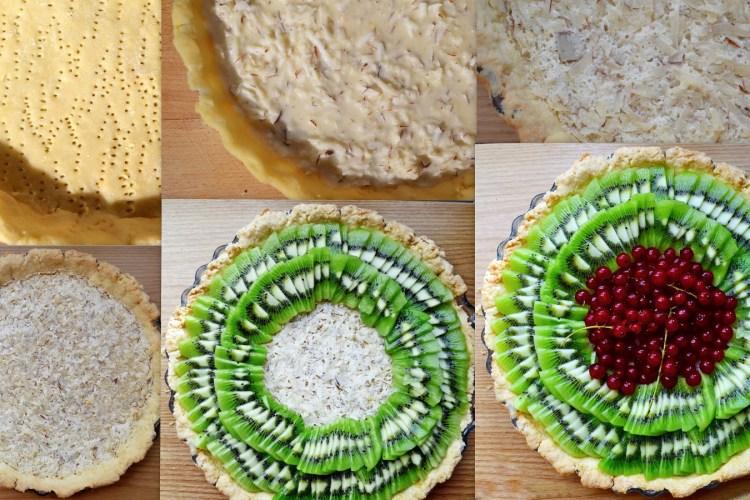 Kruche ciasto z kokosowym kremem i owocami
