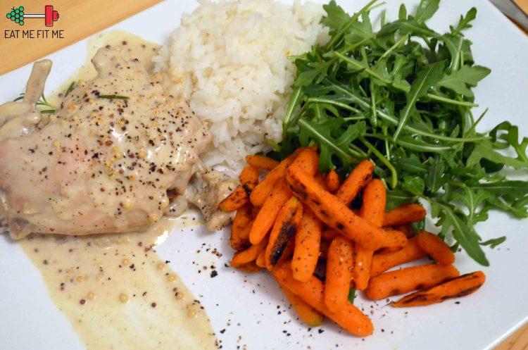 Przepis na królika w sosie musztardowym z ryżem, rukolą i grillowaną marchewką