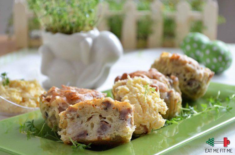 Przepis na wytrawne muffinki z białą kiełbasą, majerankiem i pastą jajeczno – chrzanową