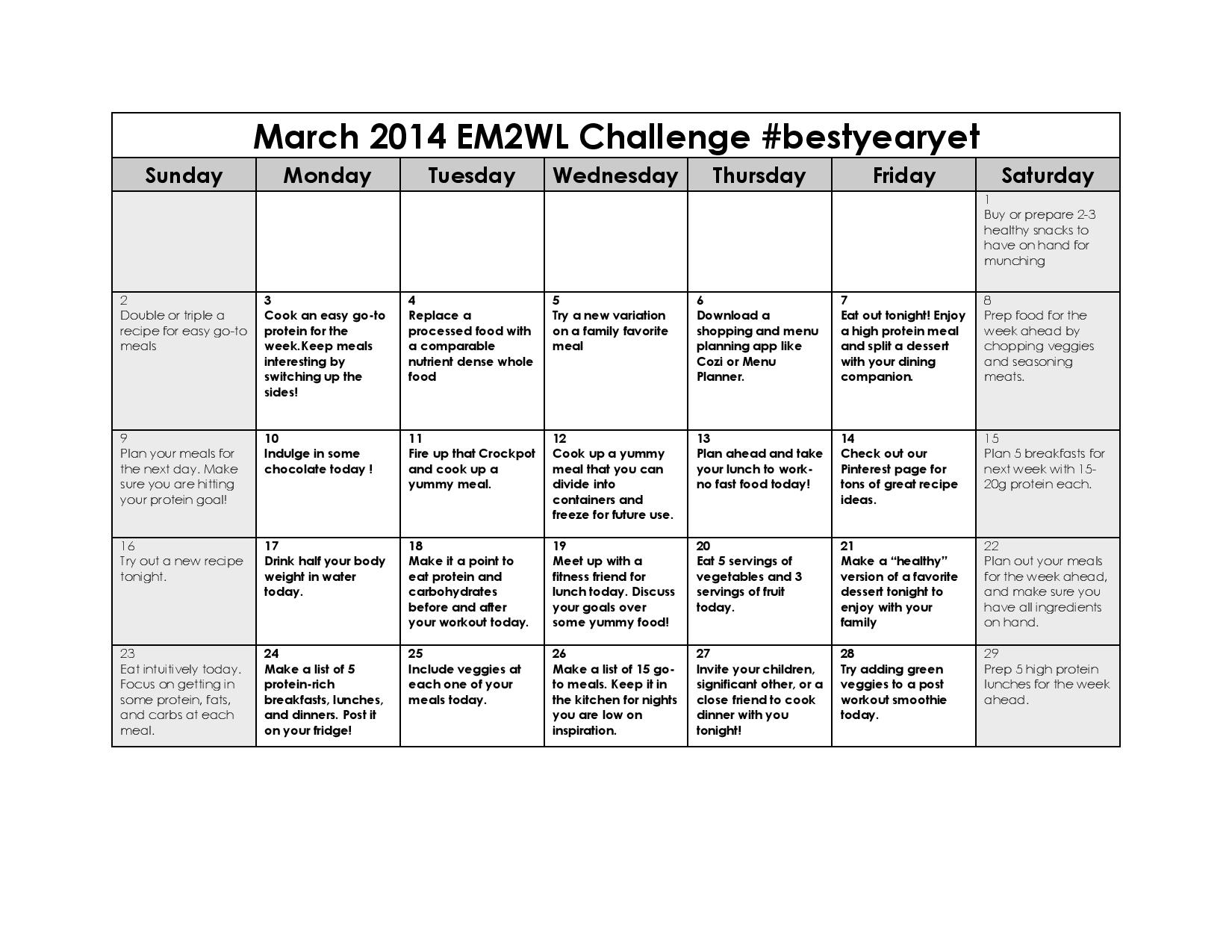 March Menu Planning Challenge