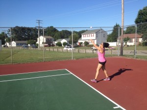 Kiki playing tennis