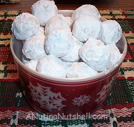 snowball cookies in a bucket