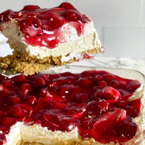 slice of cherry cream cheese dessert