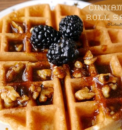 cinnamon roll sauce on waffle