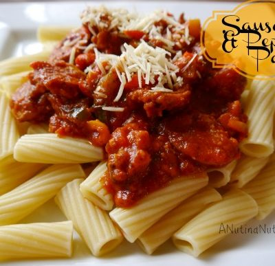 A plate of food, with Pasta and Sausage