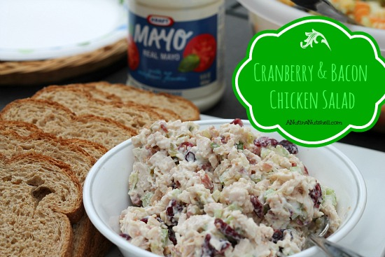 cranberry bacon chicken salad in white bowl