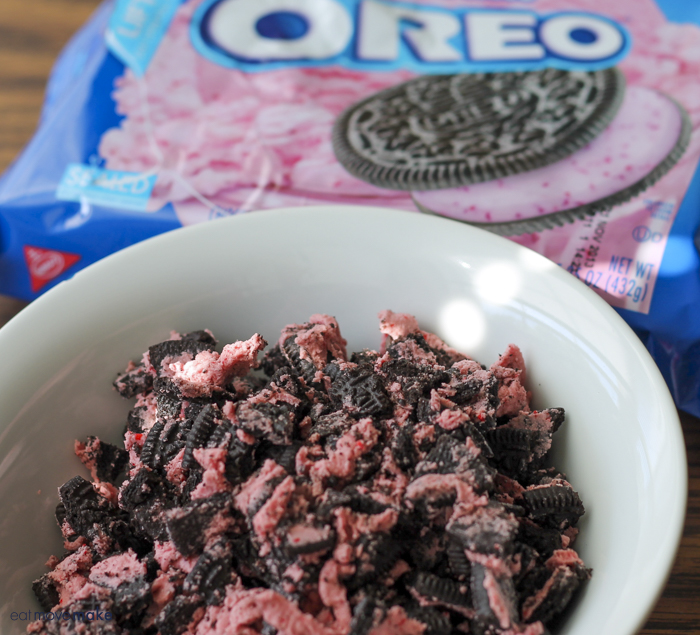 crumbled oreo cookie chunks
