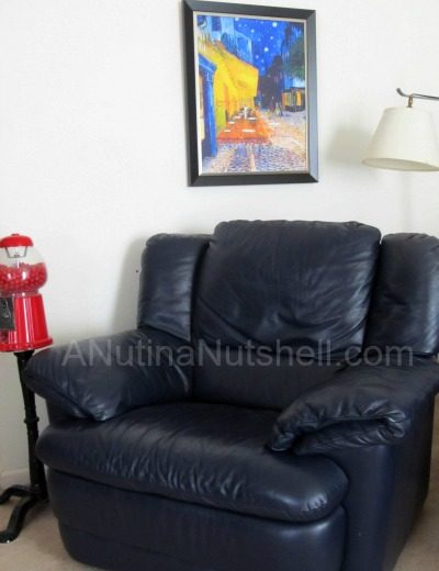 A living room with a leather chair