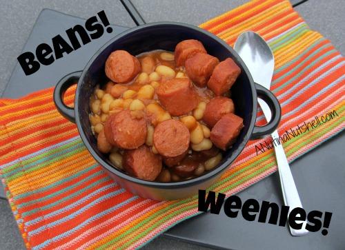 Beans-Weenies in crock on table