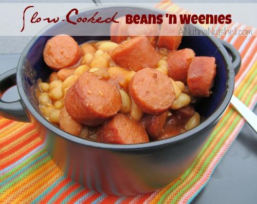 Slow Cooked Beans 'n Weenies in crock