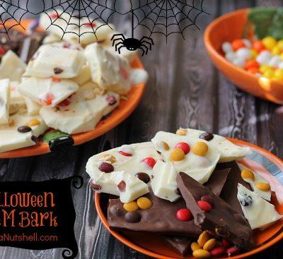 Halloween bark in bowls