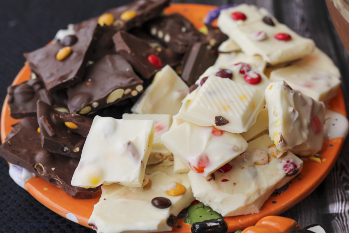 pieces of Halloween candy bark on plate