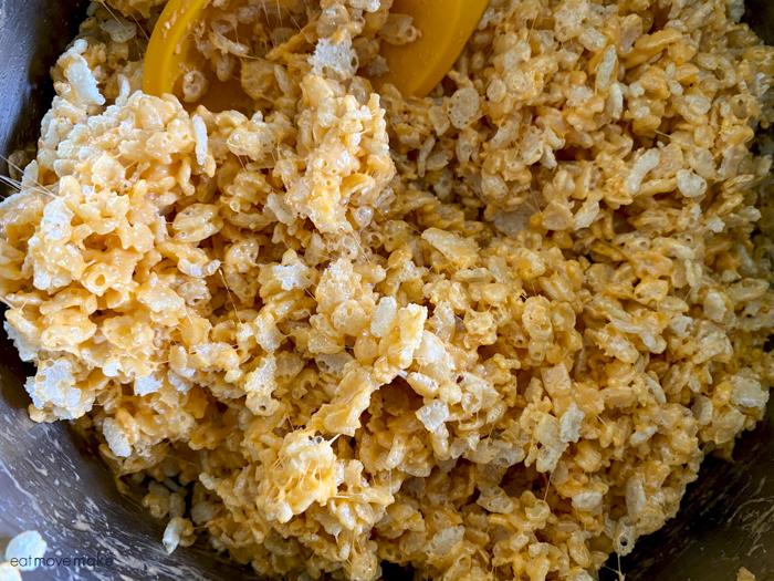 Halloween Rice Krispies Treats mixture
