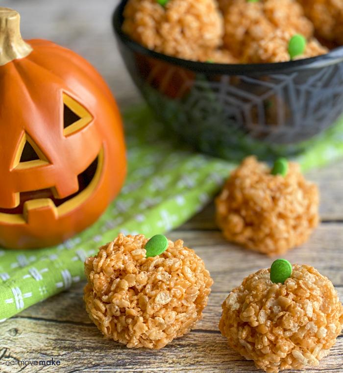 Halloween Rice Krispies treat- Rice Krispie pumpkins in bowl and on table