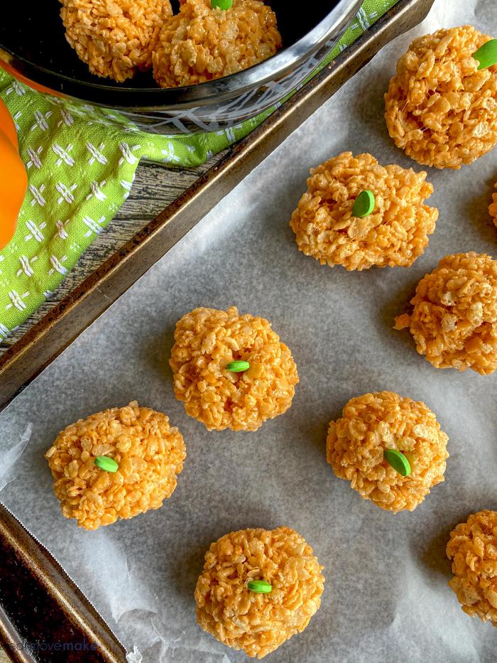 Halloween rice krispies treats on baking sheet