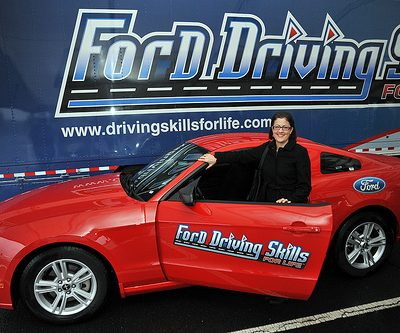 lady by Ford Driving School car