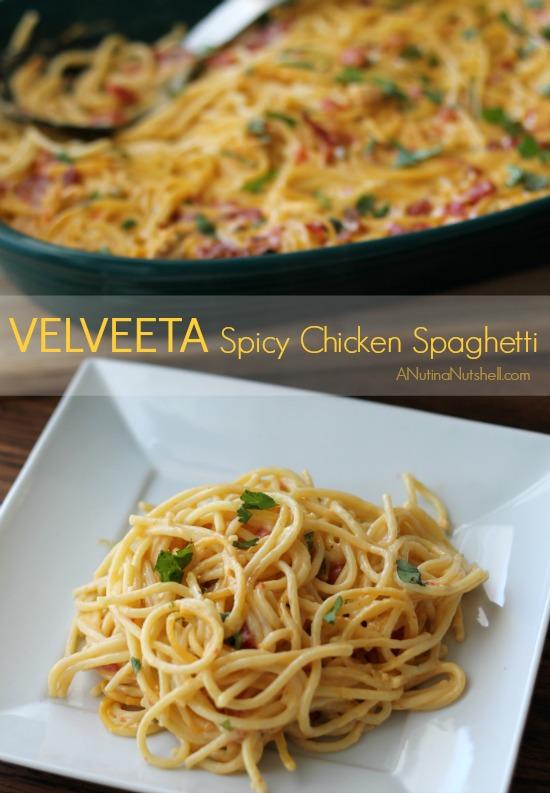Velveeta Spicy Chicken Spaghetti on plate