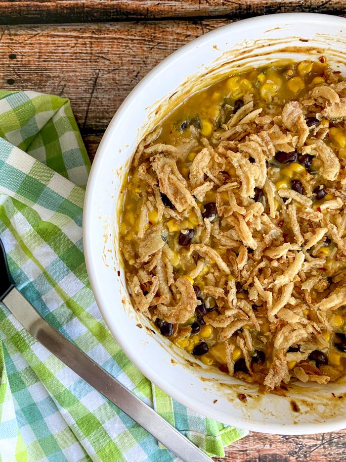 chicken corn casserole in baking dish
