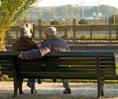 a couple on bench
