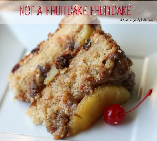 A piece of cake on a plate, with Fruitcake