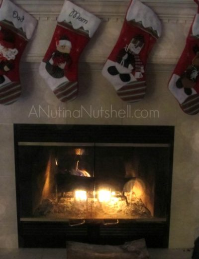 A fire place and stockings