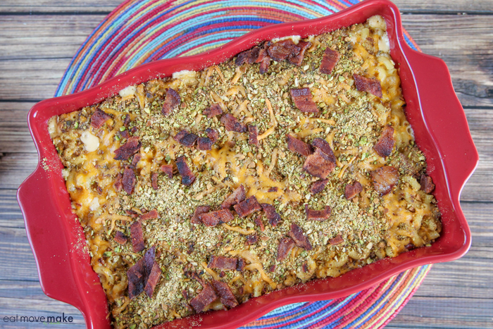 bacon pistachio mac and cheese fresh from the oven in baking dish