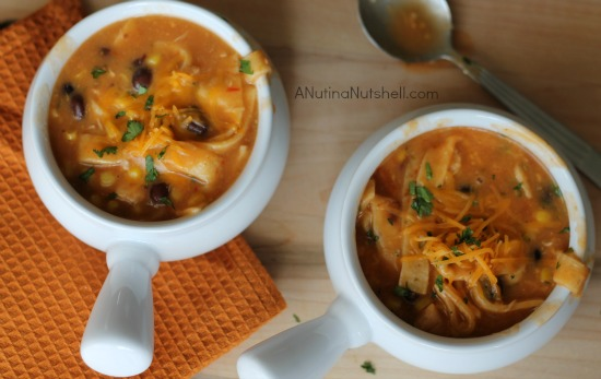 slow cooker chicken tortilla soup in bowls