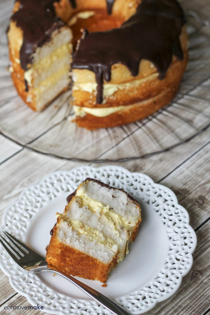 Boston cream pie and slice on plate